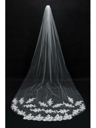 Gorgeous Long Train lace tulle Bridal veil