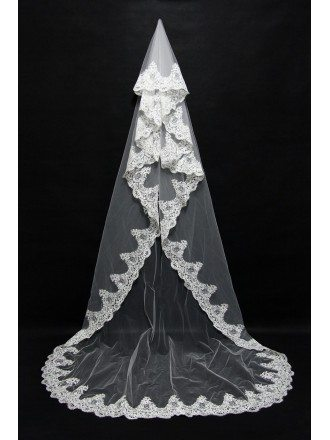 Gorgeous Long Train Tulle Wedding veil with Lace Trim