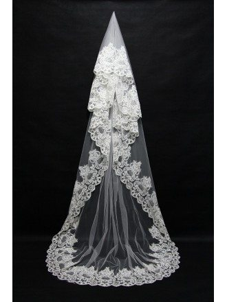 Beautiful Retro Lace Tulle White Wedding veil in Long