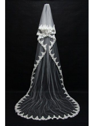 Elegant Long Train Tulle Bridal veil with Lace Hem