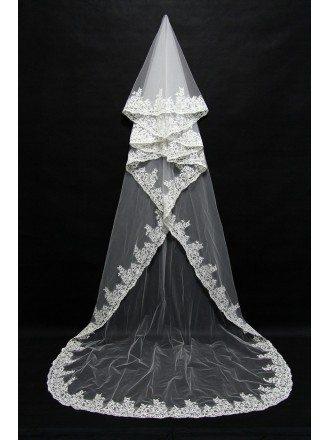 Elegant Long White Tulle Bridal veil with Lace Trim