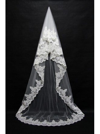 Beautiful Long Ivory Tulle Wedding veil with Lace Trim