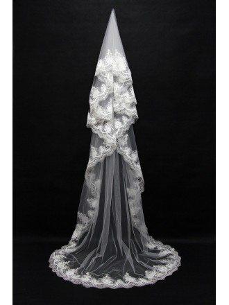 Fabulous Long White Wedding Veil with Lace Trim
