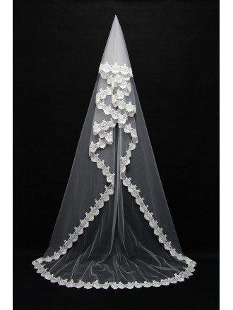 Fabulous Long White Bridal Veil with Lace Trim