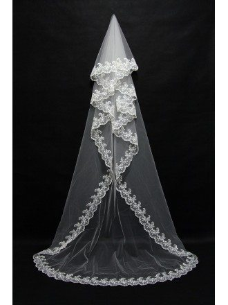 Great Long White Bridal Veil with Lace Trim