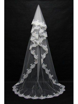 Princess Style 3 Metres Long Wedding Veil with Lace Trim