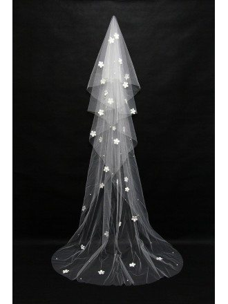 3 Metres long style wedding veil with Beaded Flowers