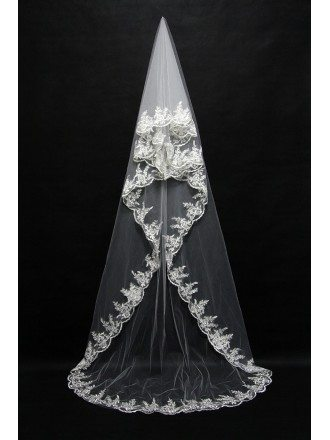 Long style White wedding veil with Lace Trim