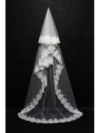 Long style White bridal veil with Lace Trim