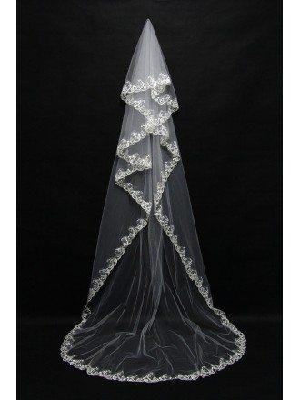 Princess Long Train Bridal Veil with Lace Hem