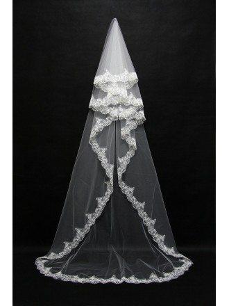Trimed Lace Princess Long Wedding Veil