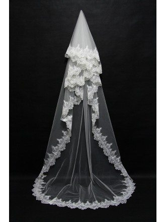 Trimed Lace Princess Long Wedding Veil with train