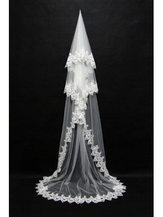 Gorgeous Long Train Ivory Wedding Veil with Trimed Lace