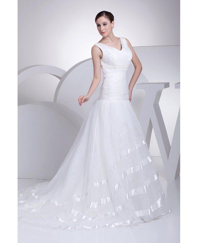 Organza Wedding Gowns: Pleated Organza Long Mermaid Wedding Dress With Satin Trim