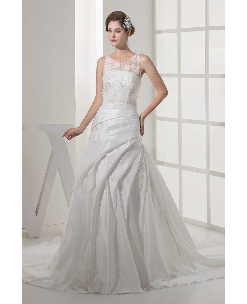 Floral white taffeta mermaid wedding dress pleated for Taffeta mermaid wedding dress