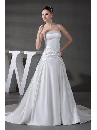 Strapless Beaded Satin Wedding Dress with Train