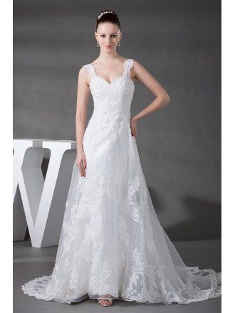 Beaded Strap Lace Tulle Aline Beach Wedding Dress