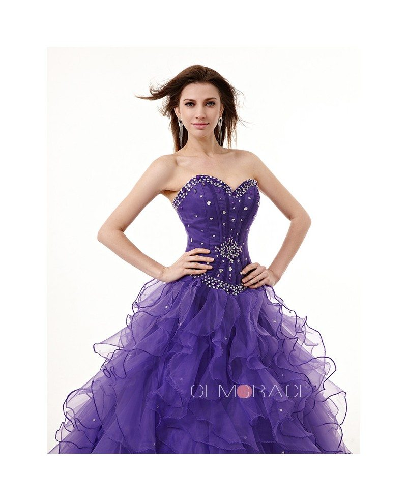Strapless Sweetheart Ballgown Beaded Puffy Prom Dress with
