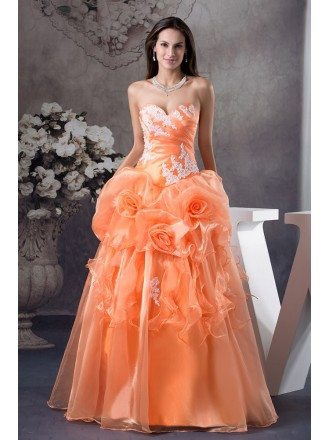 Orange Handmade Flowers Lace Sweetheart Colored Wedding Dress