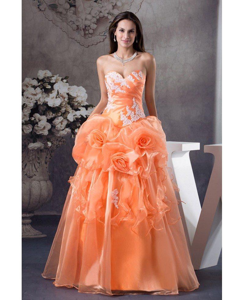 Orange Handmade Flowers Lace Sweetheart Colored Wedding