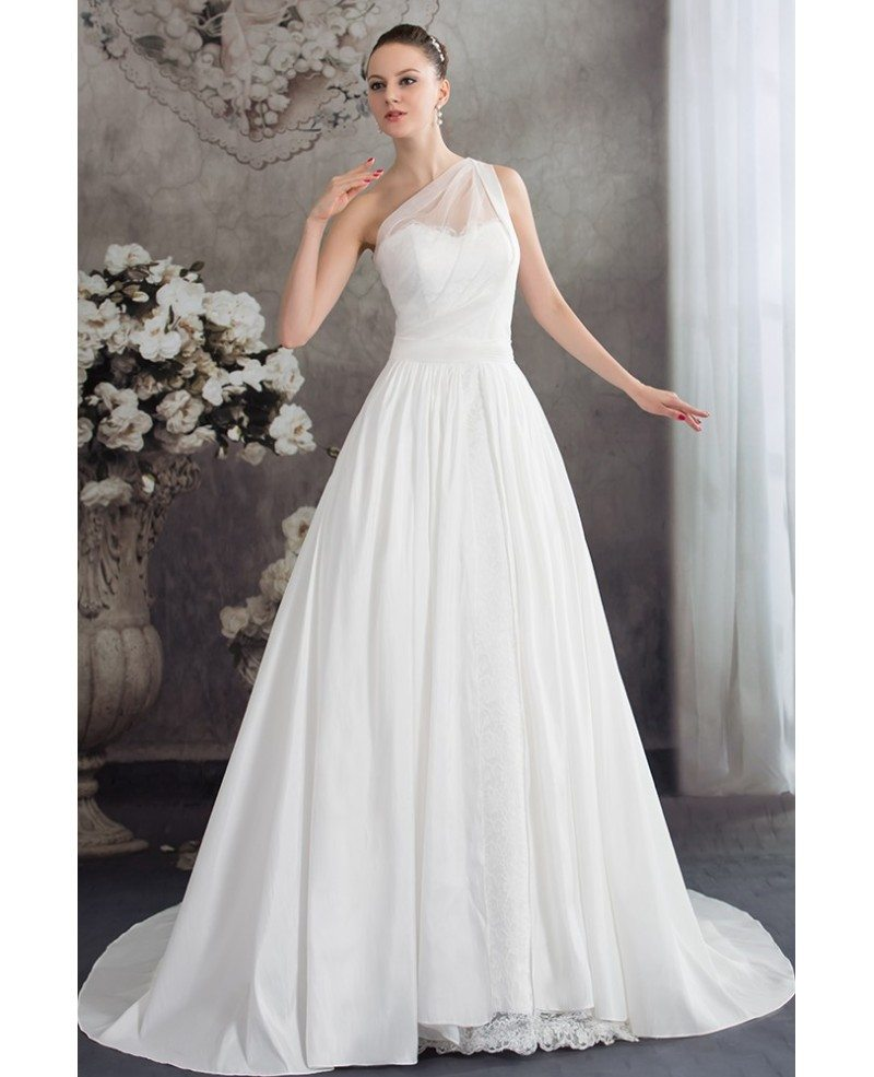 Wedding Dresses: One Strap Simple Aline Lace Wedding Dress #OPH1226 $242.9