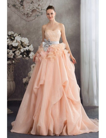 Cascading Ruffles Colored Two Tone Organza Wedding Dress