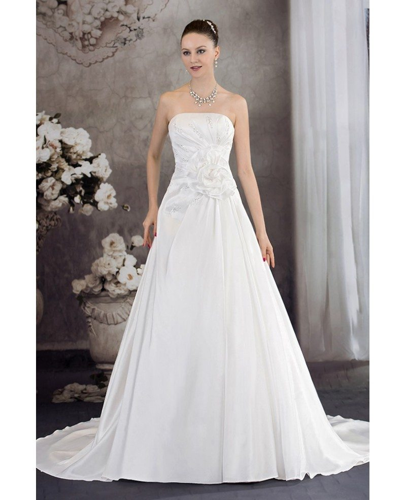 Aline Wedding Gown: Aline Strapless Handmade Flower Wedding Dress With Train