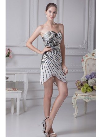 Strapless Short White with Black Beading Bridesmaid Dress in Striped Style