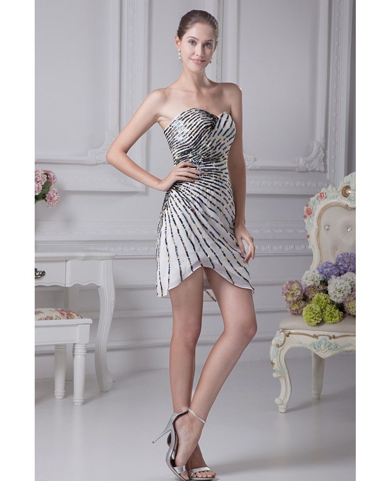 Strapless Short White with Black Beading Dress in Striped Style ...
