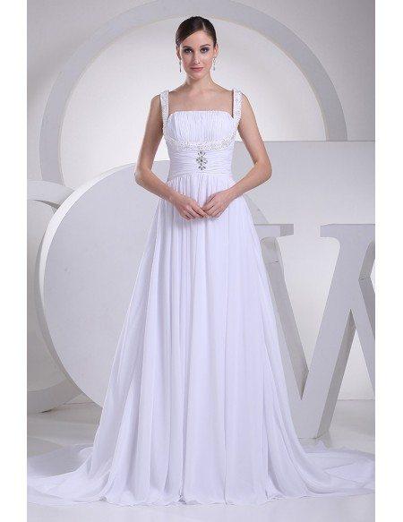 Elegant White Chiffon Beading Ruffled Wedding Gown with Train ...