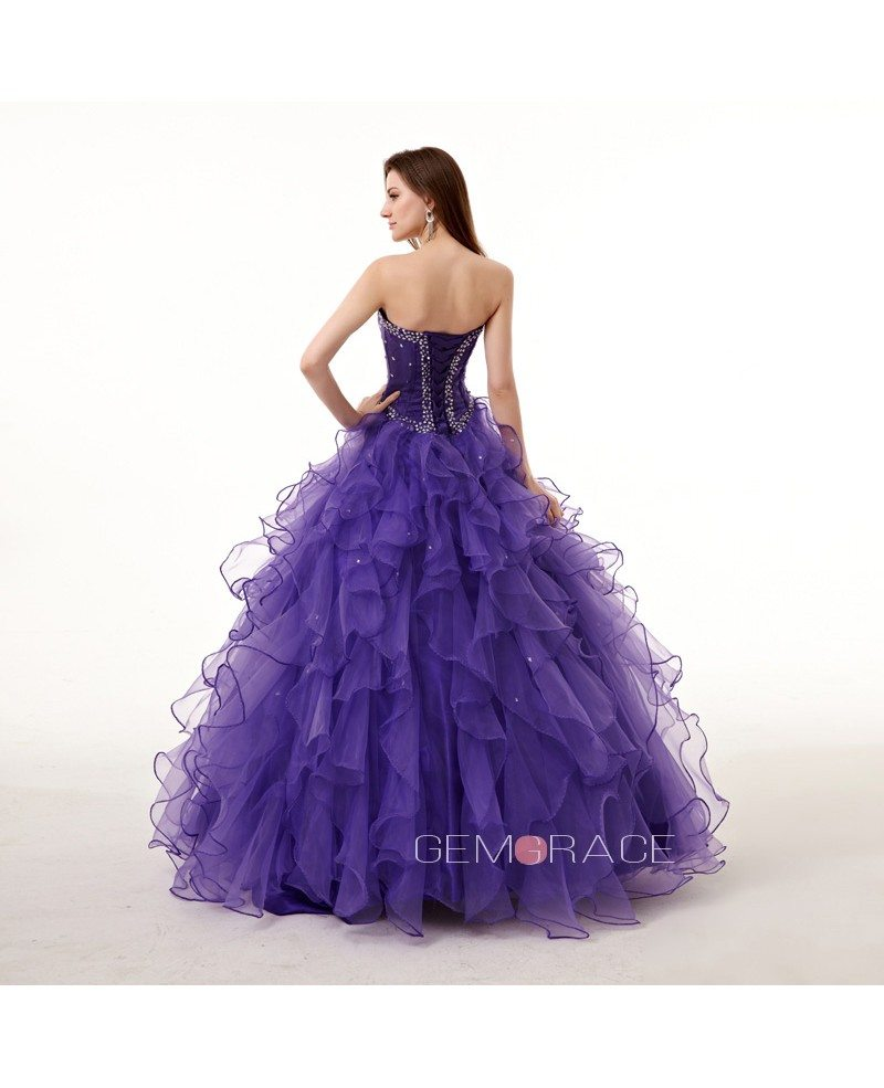 Strapless Sweetheart Ballgown Beaded Puffy Prom Dress with ...