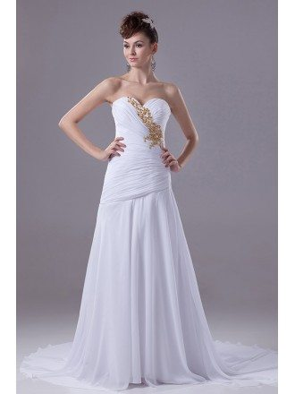 Pleated Sweetheart Chiffon White with Gold Beading Wedding Dress with Train
