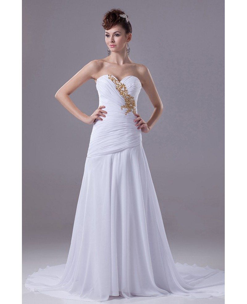 Pleated Sweetheart Chiffon White With Gold Beading Wedding