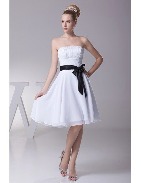 Simple strapless little short ruffled white bridesmaid for Simple white strapless wedding dress