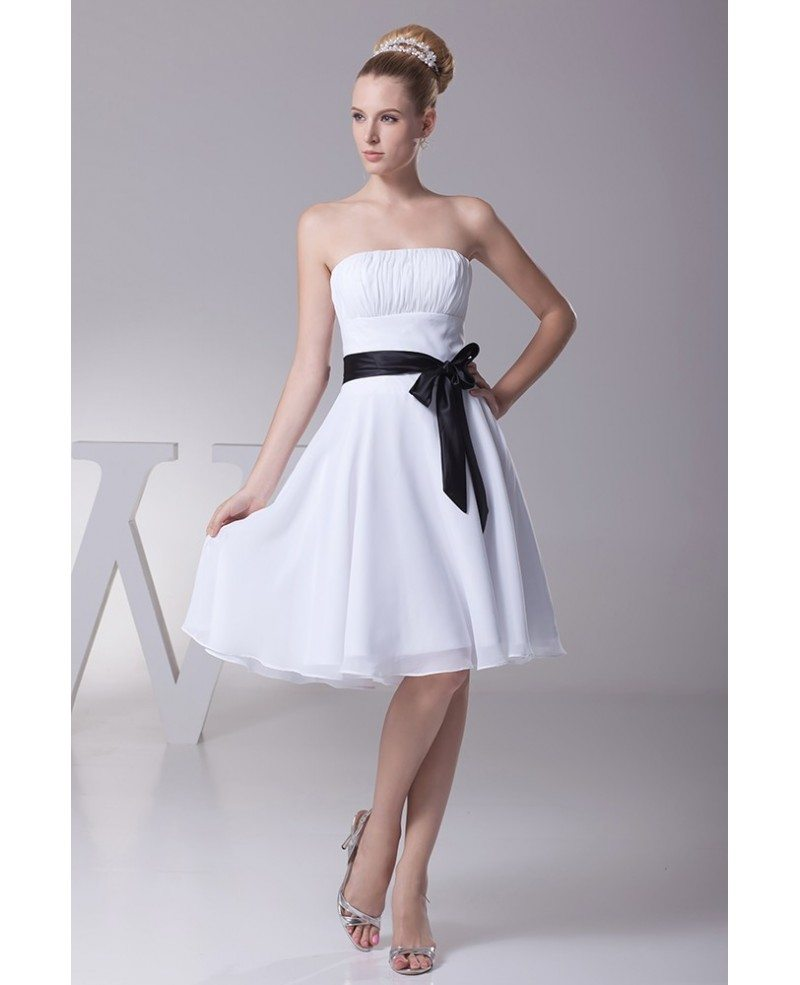 white short wedding dresses simple strapless ruffled white bridesmaid 1355