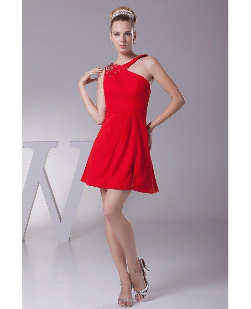 Sexy Split Short Chiffon Red Bridesmaid Dress With