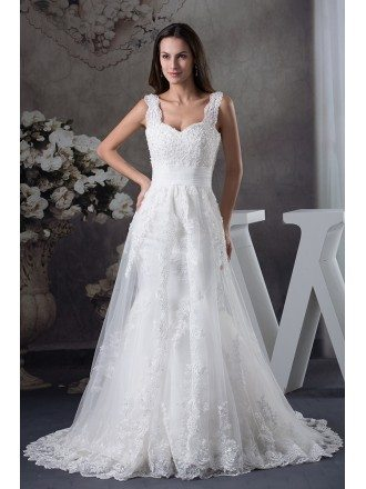 Lace Aline Long Tulle Wedding Dress with Straps