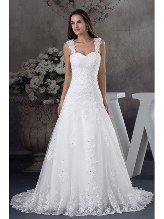 Sequined Lace Tulle Aline Wedding Dress with Straps