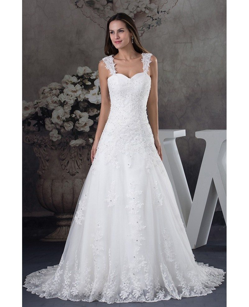 Sequined Lace Tulle Aline Wedding Dress with Straps #OPH1248 $269 ...