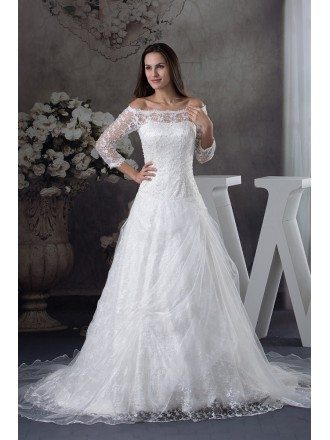 Lace 3/4 Sleeves Off the Shoulder Train Length Wedding Dress