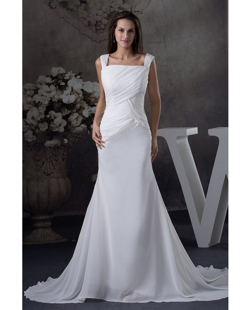 Pleated Square Neckline Chiffon Mermaid Beach Wedding