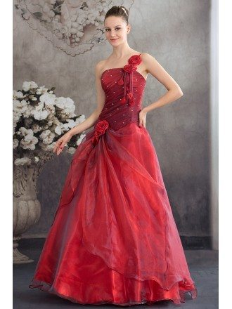 Burgundy Organza Floral One Shoulder Ballgown Red Wedding Dress