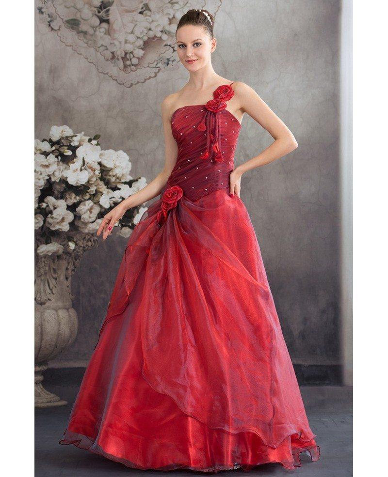 Burgundy Organza Floral One Shoulder Ballgown Red Wedding