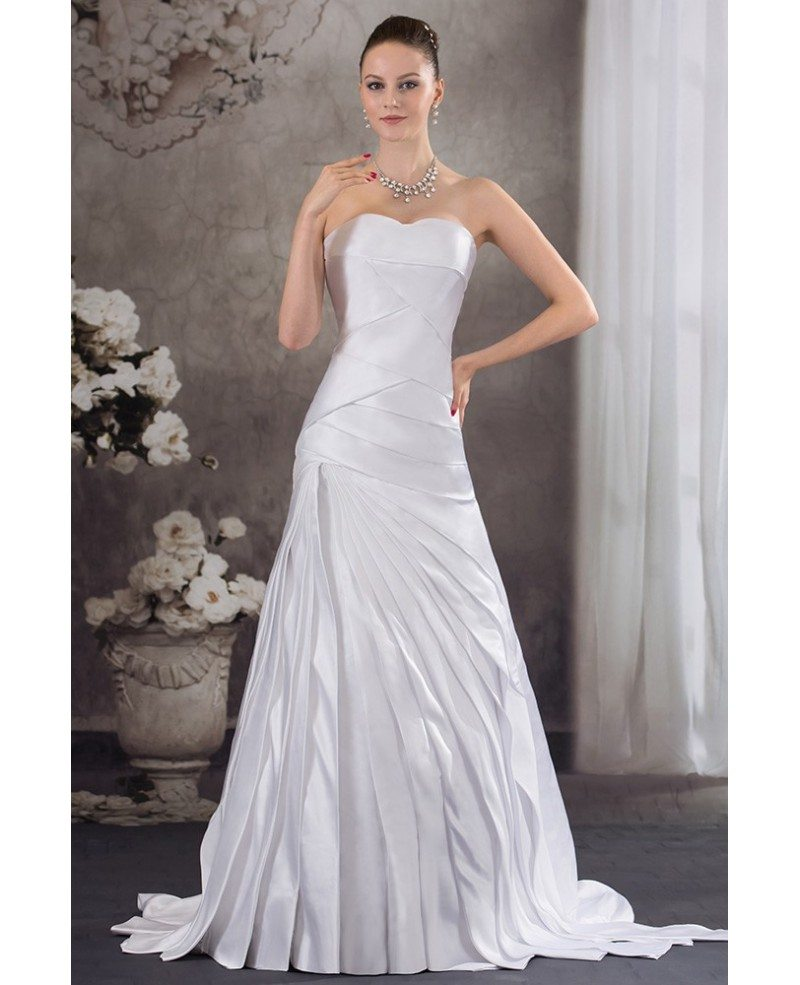 Pleated satin sweetheart mermaid wedding dress with corset for Sweetheart corset wedding dress