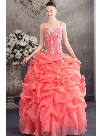 Unique Ruffled Organza Watermelon Red Wedding Dress with Straps