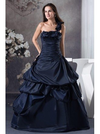 Navy Blue One Shoulder Ruffled Taffeta Color Wedding Dress