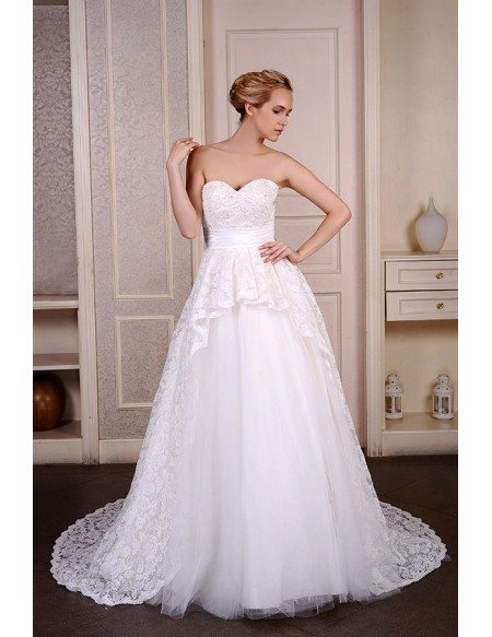 Ball-Gown Sweetheart Court Train Tulle Wedding Dress With Beading ...