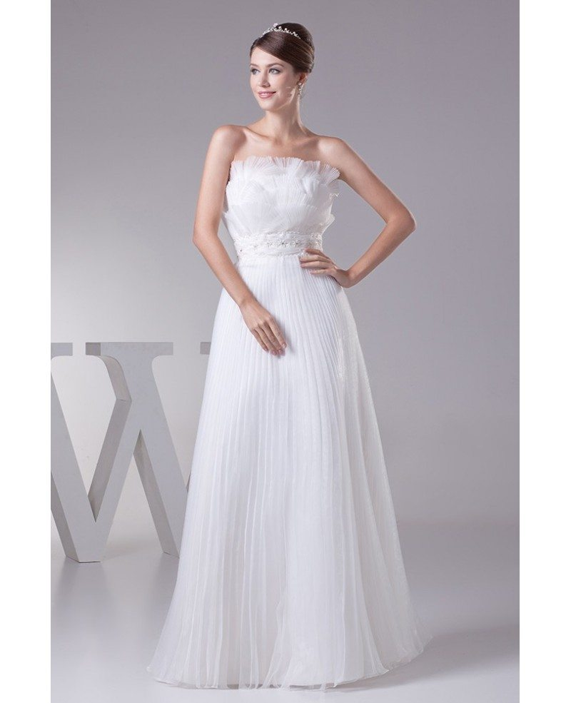 Pleated one shoulder organza floor length wedding dress for Mid length wedding dress