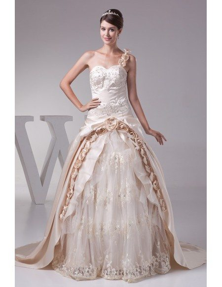 Beautiful One Shoulder Flowers Champagne Color Wedding Dress ...