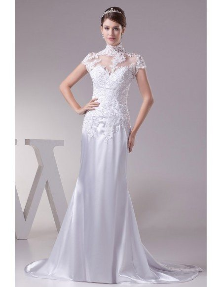 Long Halter Lace Cap Sleeves Sleek Satin Mermaid Wedding Dress ...